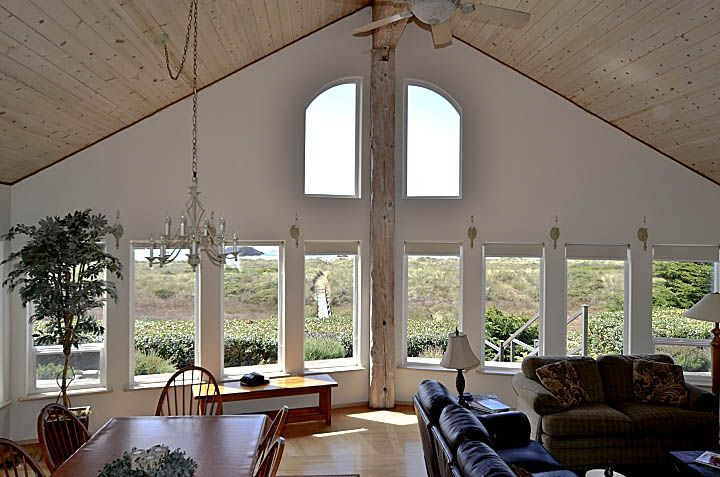 Great Room's windows offers ever-changing moods of ocean, beach, dunes and sky
