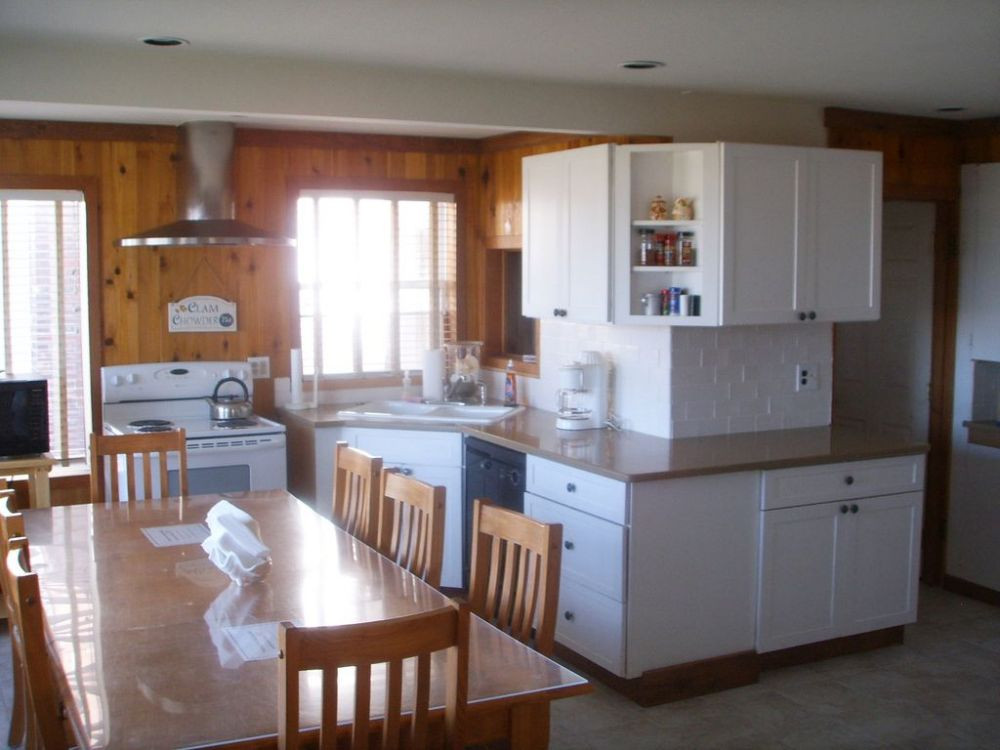 Kitchen and dining room. Granite counter tops and tiled floor
